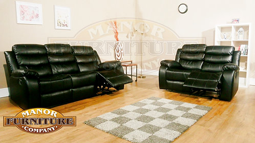 VISTA 2 & 3 Seat Reclining Set Black LEATHaire