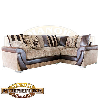 lush corner sofa beige jumbo cord fabric with flower and striped scatters