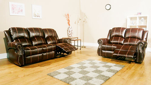 STUDIO 2 & 3 Seat Recliner Brown LEATHaire with Studded Detailing