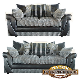 lush 2 u0026 3 seat sofas grey jumbo cord with stripe and floral scatters