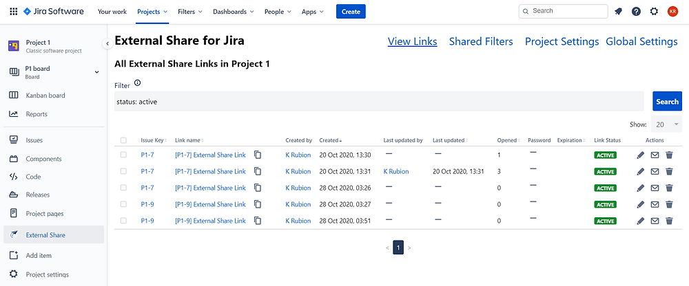 External Share for Jira Links