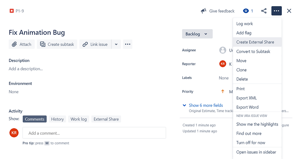 Share Jira Bug with External Team