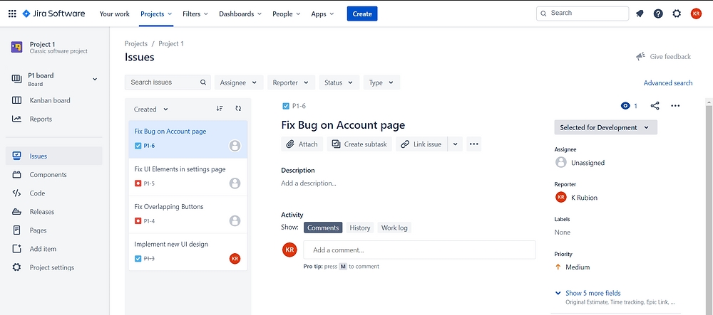 Jira Software Project view