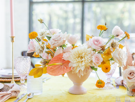 Modern Meets Retro Blush & Mustard Shoot | The Luminaire in Montgomery, Texas