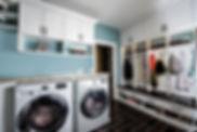 Laundry mud room cabinet organization