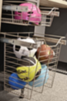 garge organization system cabints with bake pull outs for accessories, sprts balls, and more
