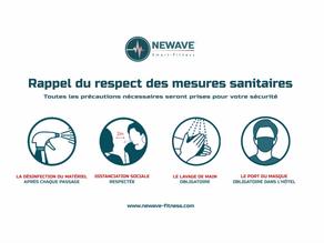 Mesure sanitaire et d'hygiène chez Newave Fitness.