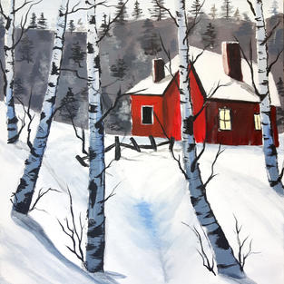 (SOLD) Red House, Winter