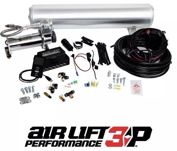 Air Lift Performance 3P (3/8 Air Line 5 Gal Raw Aluminum Tank VIAIR 444C Comp)