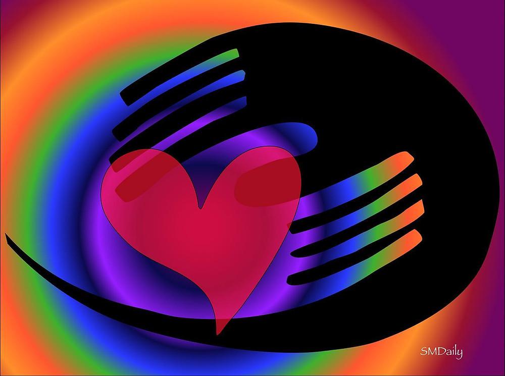 Heart in hands graphic