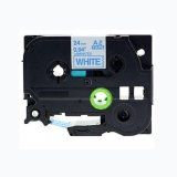 """Brother TZe253 24MM (1""""), Length of 8M, Blue on White Compatible Label Tape"""