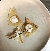 """Chicken skin"" crackers with housemade w"