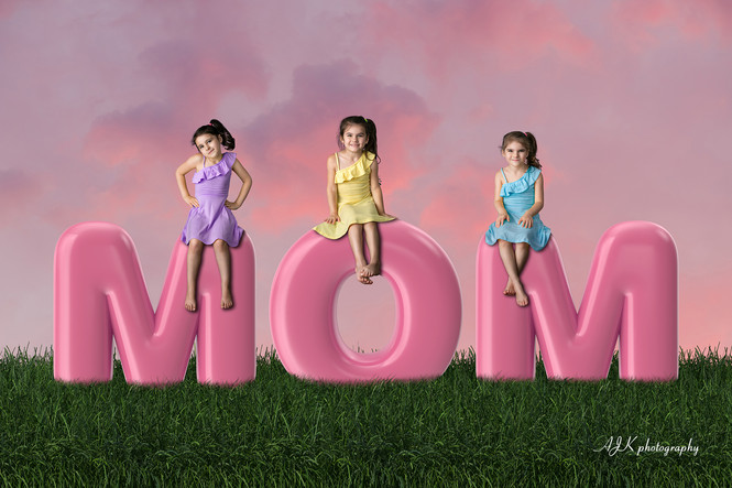 MOM bubble letters pink sky triplets fb.