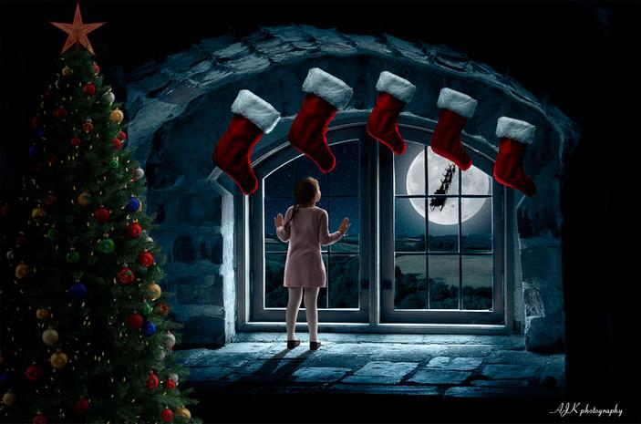 Christmas window 3 Arielle stockings fb.