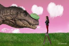 Valentine's Day dinosaur pink sky heart