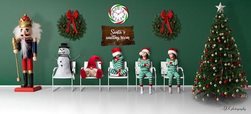 santa's waiting room green triplets fb.j