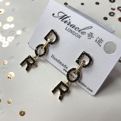 DIOR.   Style Gold and Black Rhinestones withSilver-pins Dangle Earrings