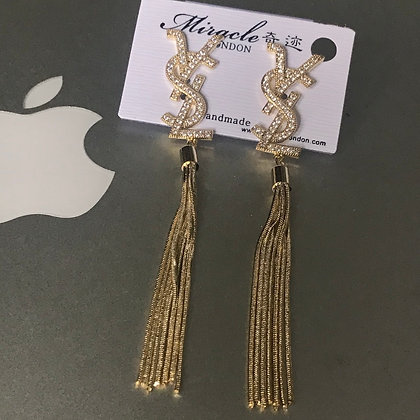 1.  YSL Gold with rhinestones and Tassels Dangle Earrings with Silver Pins
