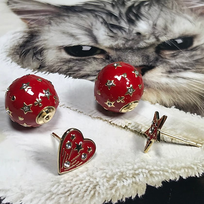 CD.    Star & Heart Stud and Red and Gold Ball Earring.  Silver-Pins.  Size;15mm