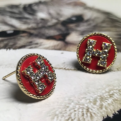 H Style Red and Gold Stud Earrings with Silver Pins.  Size;12mm Diameter