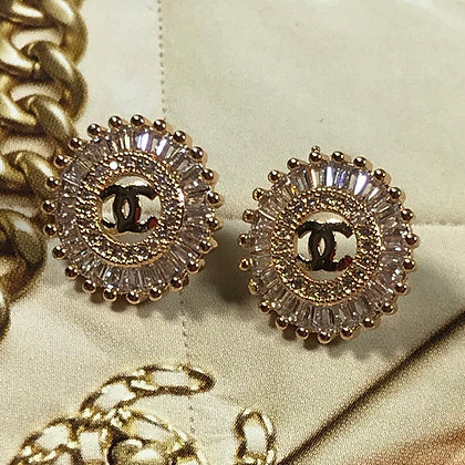 23.  CC Style Gold and Rhinestones Stud Earrings. Silver-Pins