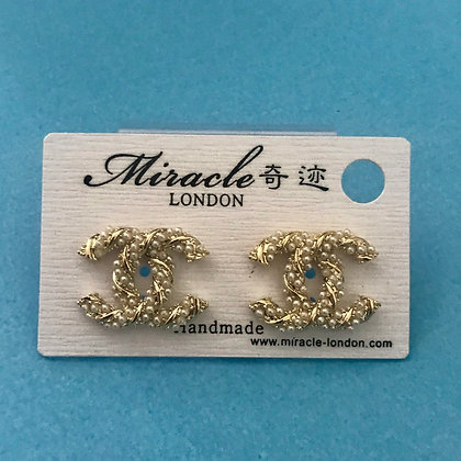 3.  CC Style Gold and Pearls stud earrings   Silver Pins