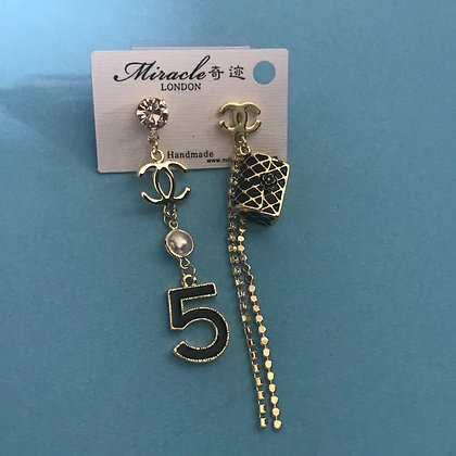 14.  CC Style Gold And Black Dangle Earrings with Silver Pins