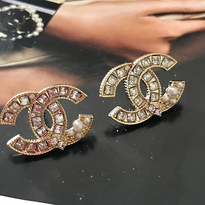 CC Style Gold with Rhinestones and Pearls Stud Earrings. Silver-Pins