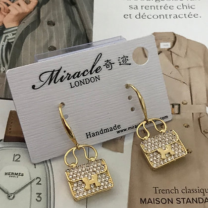 HERMES. .Style Gold with Clear Rhinestones Dangle Earrings