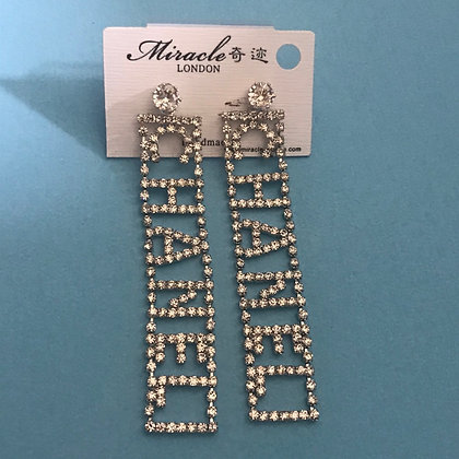 17.  CHANEL- Style Silver and Rhinestones Dangle Earrings with Silver Pins