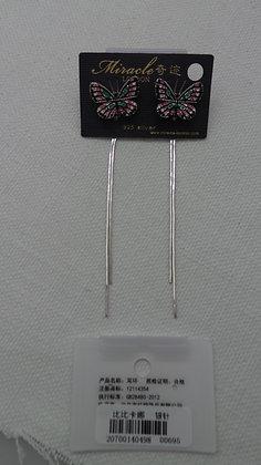 20700140498/00695(Pink-Black.SILVER DANGLE EARRINGS