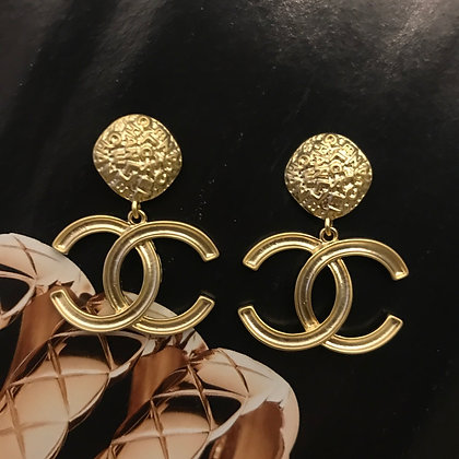 11.  CC Style Gold Dangle Earrings. Silver Pins