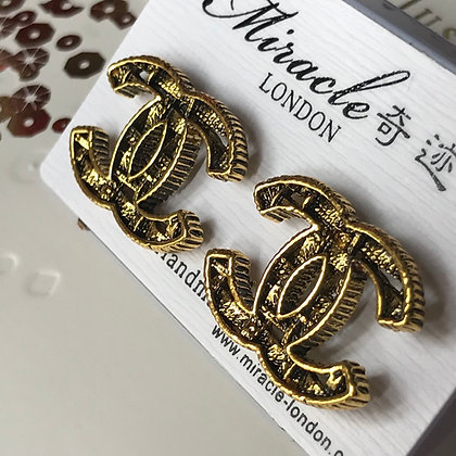 CC Style Gold and Black with Silver-Pins Stud Earrings