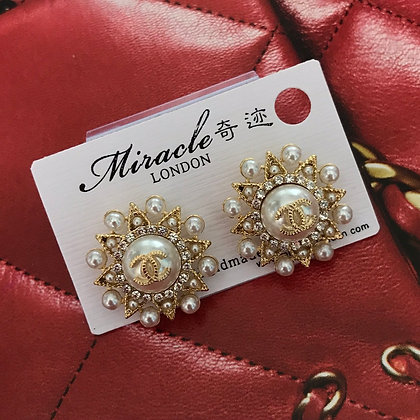 CC Style Gold and Pearls with Silver-Pins Stud Earrings