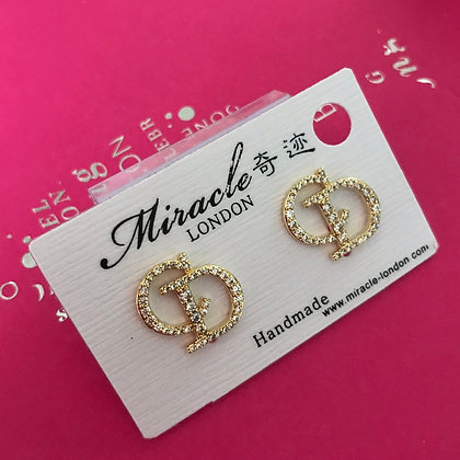 CD.   Style Gold with Rhinestones with Silver-Pins