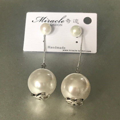 """12.  CC Style Dangle Earrings Silver and White-Pearls with """"CC"""".  Silver Pins"""