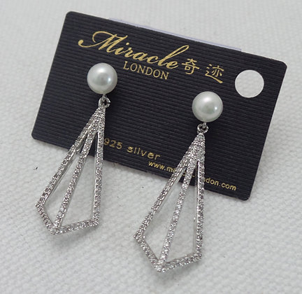 20670430400B/0695(Silver).SILVER DANGLE EARRINGS
