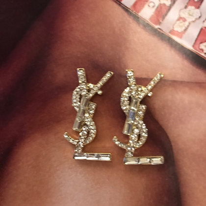 2.  YSL Style Gold and Rhinestones Stud Earrings with Silver Pins