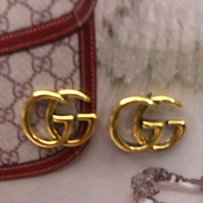 2.  GG.Style Gold Stud Earrings with Silver Pins