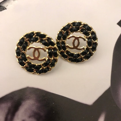 7.  CC Style Gold and Black Earrings with Silver Pins