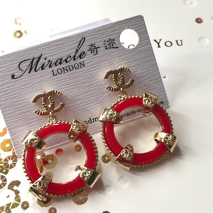 CCStyle Gold and Red Dangle Earrings with Silver-Pins