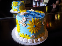 Yellow and Blue Party Cake The Yellow Ca
