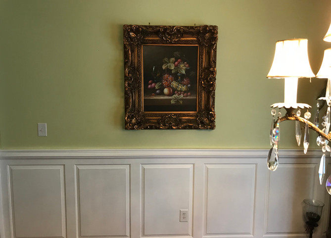 Lime Green Wall With Wainscoting
