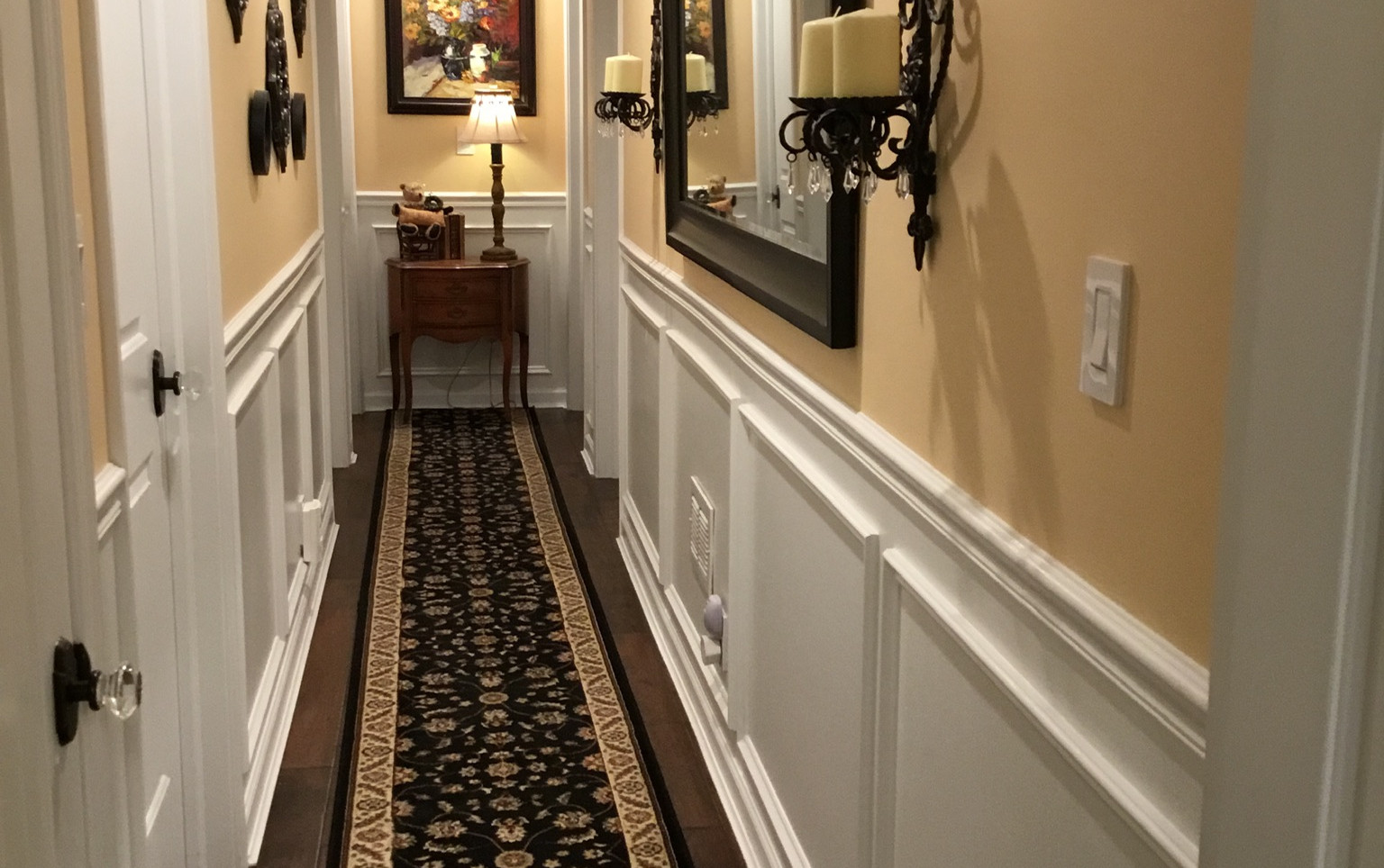 Basement Hallway With Wainscoting
