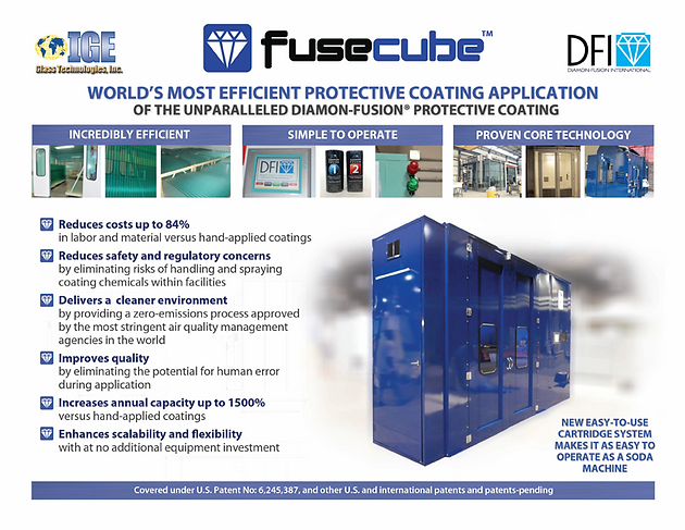 Fusecube worlds most efficient protective coating application the fusecube is basically a box chamber that circulates a revolutionary coating vapor from cartridges and can coat about 75 average shower doors per hour planetlyrics Images