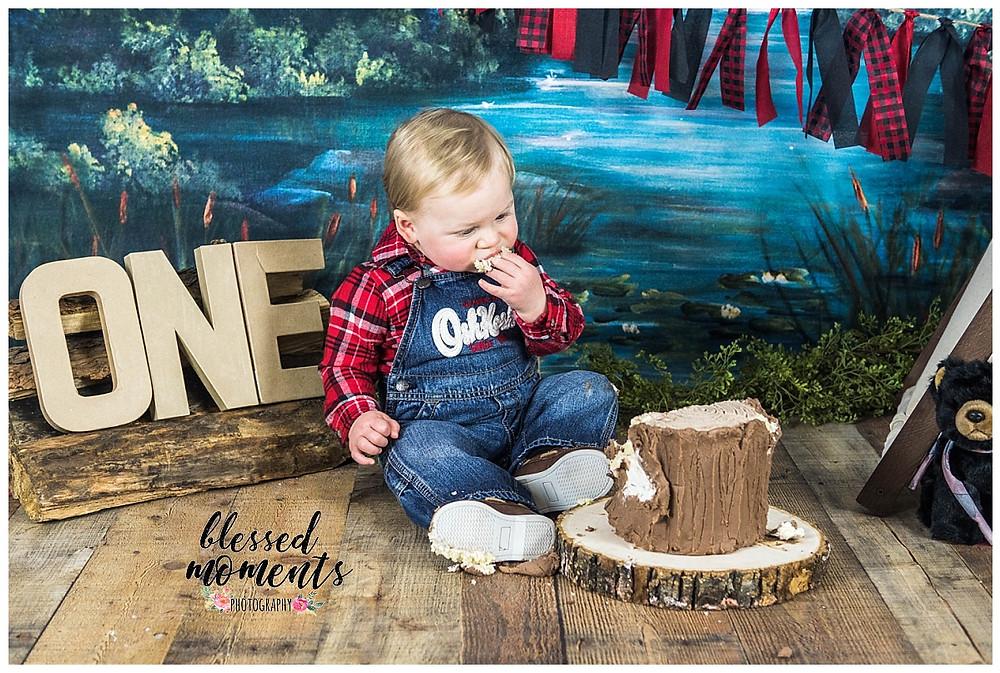 One year old boy in overalls and plaid shirt for lumber jack smash cake theme