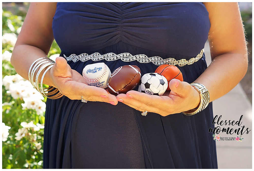 Maternity photos with sports balls