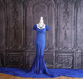 Royal Blue Long Tail Maternity Gown