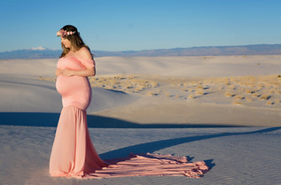 Coral Pink Maternity dress with Split Tail
