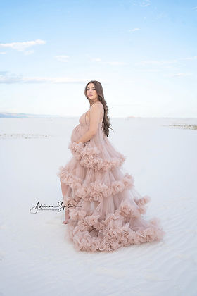 El Paso Maternity photography shot at White Sands National Park wearing Taupe ruffle gown